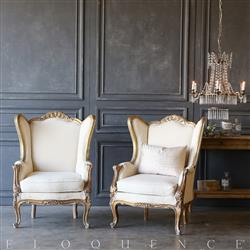 Eloquence® Pair of Vintage Gold Wing Bergeres: 1940 | Kathy Kuo Home