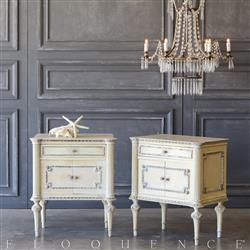 Eloquence® Pair of Vintage Pale Gold Nightstands: 1940 | Kathy Kuo Home
