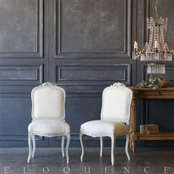 Eloquence® Pair of Vintage Rustic White Side Chairs: 1940 | Kathy Kuo Home