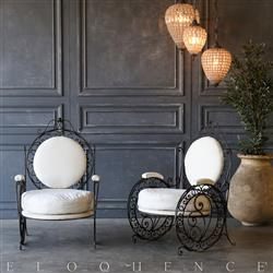 Eloquence® Pair of Vintage Steel Scroll Garden Chairs: 1940 | Kathy Kuo Home
