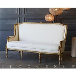 Eloquence® Vintage Bright Gold Louis Settee: 1940 | Kathy Kuo Home