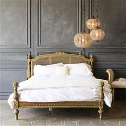 Eloquence® Vintage Carved Cane Bed: 1940 | Kathy Kuo Home