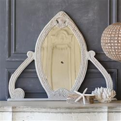 Eloquence Vintage Carved Grey Almond Mirror: 1940 | Kathy Kuo Home