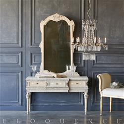 Eloquence® Vintage Floral Bisque Vanity with Mirror: 1940 | Kathy Kuo Home