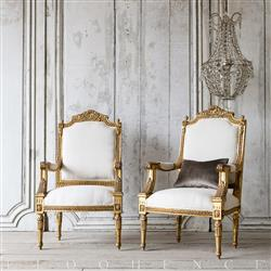 Eloquence Vintage French Bright Ornate Gold Armchairs 1940 | Kathy Kuo Home