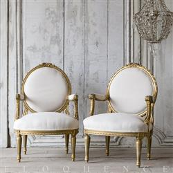 Eloquence® Vintage French Gold Floral Carved Armchairs 1940 | Kathy Kuo Home