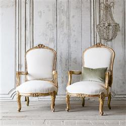 Eloquence Vintage French Gold Louis XVI Style Bergeres Arm Chairs | Kathy Kuo Home