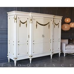 Eloquence® Vintage Gold Garland Large Armoire: 1940 | Kathy Kuo Home