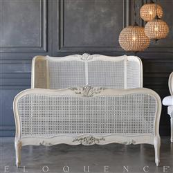Eloquence® Vintage Peach White Cane Bed: 1940 | Kathy Kuo Home