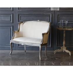Eloquence® Vintage Pewter Petite Settee: 1940 | Kathy Kuo Home