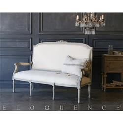 Eloquence® Vintage Rustic French Blue Settee: 1940 | Kathy Kuo Home
