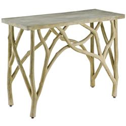 Elowen Rustic Lodge Concrete White Birch Console Table | Kathy Kuo Home