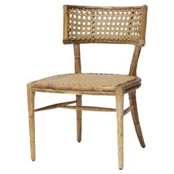 Elroy Global Bazaar Teak Cane Outdoor Dining Chair | Kathy Kuo Home
