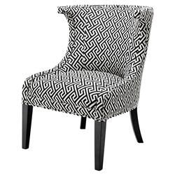 Elson Modern Classic Black White Greek Key Pattern Dining Side Chair | Kathy Kuo Home