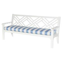 Elyse Blue Stripe White Outdoor Chippendale Bench | Kathy Kuo Home