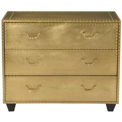 Emil Hollywood Regency Patina Brass 3 Drawer Dresser | Kathy Kuo Home