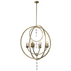 Emilia Elegant 16 Light Gold Leaf Champagne Crystal Pendant Chandelier