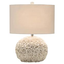 Emily Coastal Beach Cream Ribbon Rosette Round Table Lamp | Kathy Kuo Home