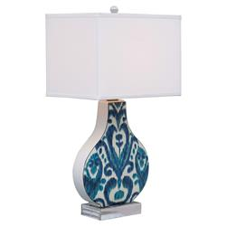 Emily Global Blue Ikat Lucite Ceramic Table Lamp | Kathy Kuo Home