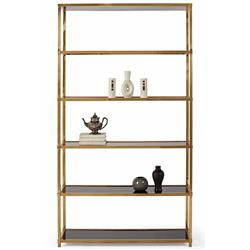 Emily Hollywood Regency Patina Brass Gloss Black Etagere | Kathy Kuo Home