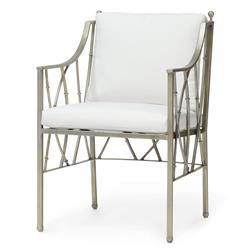 Emma Modern Silver Steel Branch Salt Outdoor Arm Chair | Kathy Kuo Home