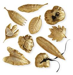Esther Large Brass Foliage Decorative Dishes - Set of 10 | Kathy Kuo Home