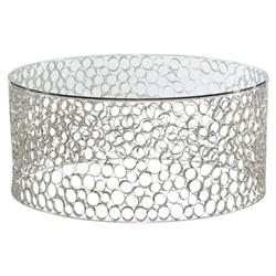 Etta Hollywood Regency Round Glass Top Silver Metal Ring Coffee Table | Kathy Kuo Home