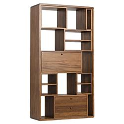 Eugene Modern Retro Cubic Walnut Wood Bookcase | Kathy Kuo Home