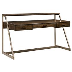 Evelyn Weathered Bronze Metal Modern Writing Desk | Kathy Kuo Home