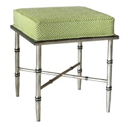 Everet Global Green Trellis Burnished Silver Bamboo Stool | Kathy Kuo Home