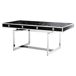 Evolution Modern Classic Black Faux Marble Stainless Steel Desk | Kathy Kuo Home