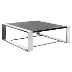 Ewan Modern Industrial Stainless Steel Dark Oak Wood Square Coffee Table | Kathy Kuo Home