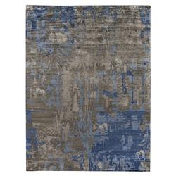 Exquisite Rugs Abstract Expressions Global Bazaar Blue Grey Bamboo Silk Rug - 6' x 9' | Kathy Kuo Home