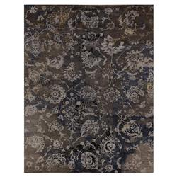 Exquisite Rugs Hundley Modern Classic Floral Damask Pattern Distressed Taupe Rug - 8' x 10' | Kathy Kuo Home