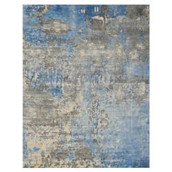 Exquisite Rugs Koda Modern Classic Abstract Blue Grey Bamboo Silk Rug - 8' x 10' | Kathy Kuo Home