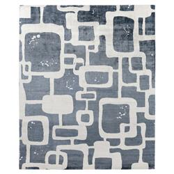 Exquisite Rugs Koda Modern Classic Art Deco Pattern Cloudy Blue Bamboo Silk Rug - 8' x 10' | Kathy Kuo Home