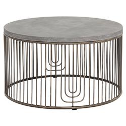 Fabien Industrial Loft Round Concrete Antique Silver Cage Coffee Table | Kathy Kuo Home