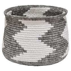 Faizah Global Bazaar Grey Zig Zag Woven Basket | Kathy Kuo Home