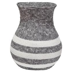 Faizah Global Bazar Grey Stripe Woven Basket | Kathy Kuo Home