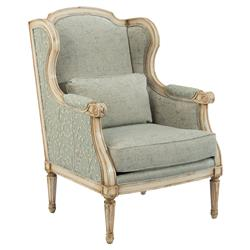 Falvie French Vine Soft Green Rustic Wing Chair | Kathy Kuo Home