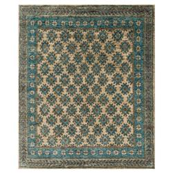 Fanti Global Blue Ocean Tribal Diamond Jute Rug - 4x6 | Kathy Kuo Home