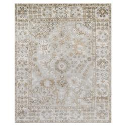 Farand French Antique Wash Silver Grey Ivory Silk Rug - 4x6 | Kathy Kuo Home