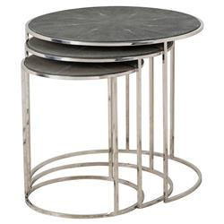 Farlane Grey Shagreen Nickel Nesting Tables - 3 | Kathy Kuo Home
