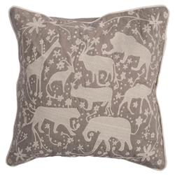 Fauna Wild Creatures Embroidered Grey Pillow - 20x20 | Kathy Kuo Home