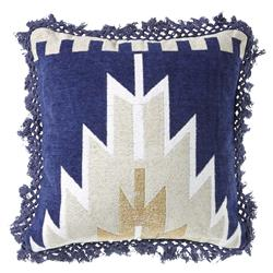 Fausto Bazaar Navy Grey Medallion Pillow - 18x18 | Kathy Kuo Home