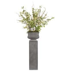 Faux Branches Budding Cherry Blossom Flowers in Cement Pedestal Urn Pot | Kathy Kuo Home