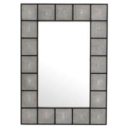 Faux Shagreen Hollywood Regency Grey Black Rectangular Mirror - Small | Kathy Kuo Home
