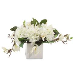 Faux White Annabelle Hydrangea Flowers Magnolia Branches in White Cube Vase | Kathy Kuo Home