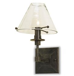 Fehlbaum Industrial Loft Style Clear Glass Shade Black Iron Sconce | Kathy Kuo Home