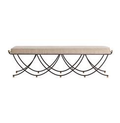 Felice Iron Brass Linen Contemporary Open Base Linen Bench | Kathy Kuo Home